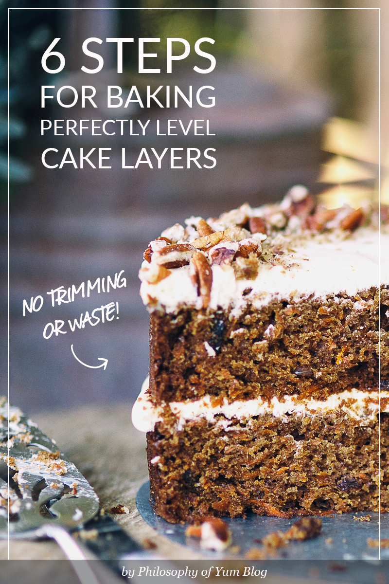 Level cake layers can be BAKED that way. NO need to trim or waste with this amazing baking hack! Bake level cake layers easily.