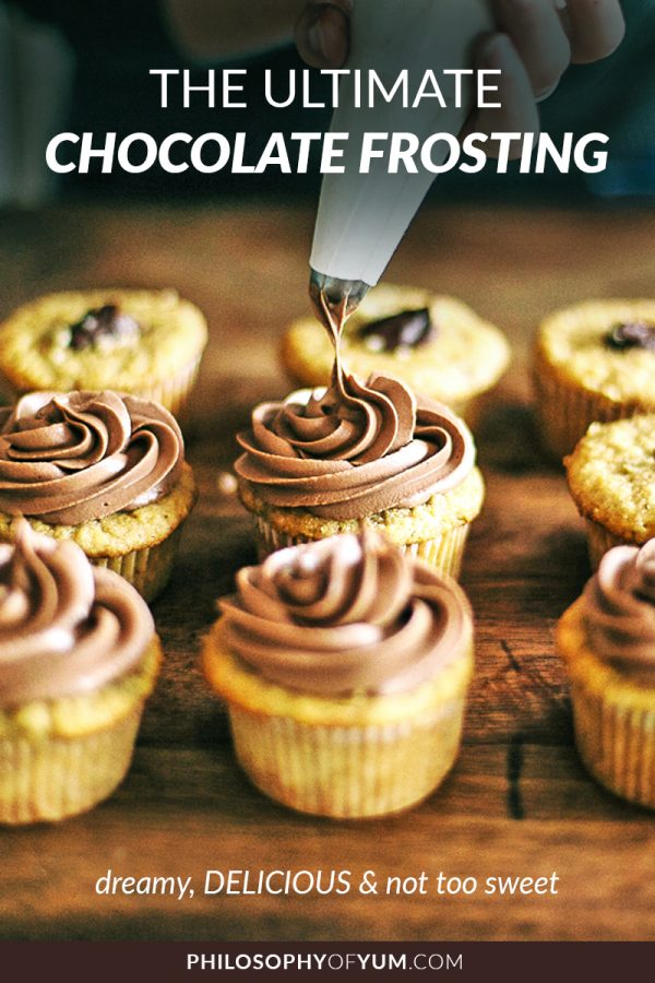 Ultimate Chocolate Frosting elevates cake to a whole new dimension of YUM! It goes with EVERY CAKE FLAVOUR known to man. You'll never want to eat buttercream again. #deliciousfrosting #creamcheesefrosting #lowsugarfrosting #chocolatefrosting