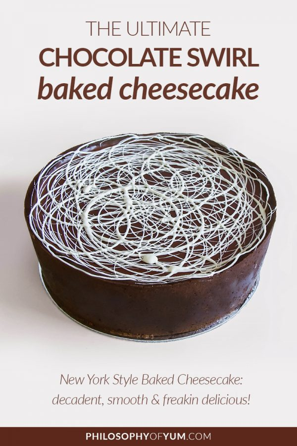 """This chocolate swirl baked cheesecake recipe has changed my life. Here's a testimonial from one of my clients: """"With every bite, you indulge yourself. The cheesecake is moist and very creamy and the chocolate crust fits perfectly to this cheesecake. The taste of the whole composition is incredibly delicious. It's really hard to stop eating, you just want to have more of this heavenly treat."""" #bakedcheesecake #chocolatecheesecake #cheesecakerecipe"""
