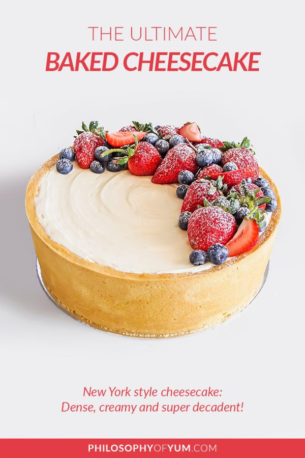A lush, New York Style Vanilla Baked Cheesecake; buttery vanilla pastry with super creamy, dense (but not too dense), smooth and tangy cheesecake. Deeeeelectable! Eat it as is or add a topping; fresh fruit, salted caramel & nuts or a fruit compote. #newyorkcheesecake #bakedcheesecake #cheesecakerecipe #perfectcheesecake