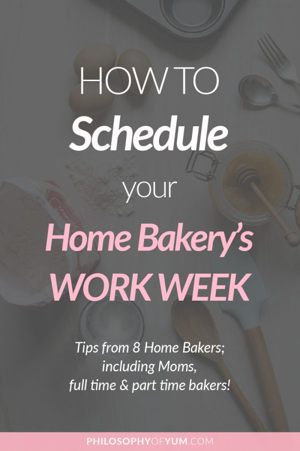 A few of my students have asked me how I plan my home bakery's work schedule to prevent burn-out, but still make a substantial income AND spend time with my family! For a more thorough post & perspective I've included the work week schedules of 7 additional home bakery owners, as well as my own. #homebakery #cakebusiness #bakingbusiness