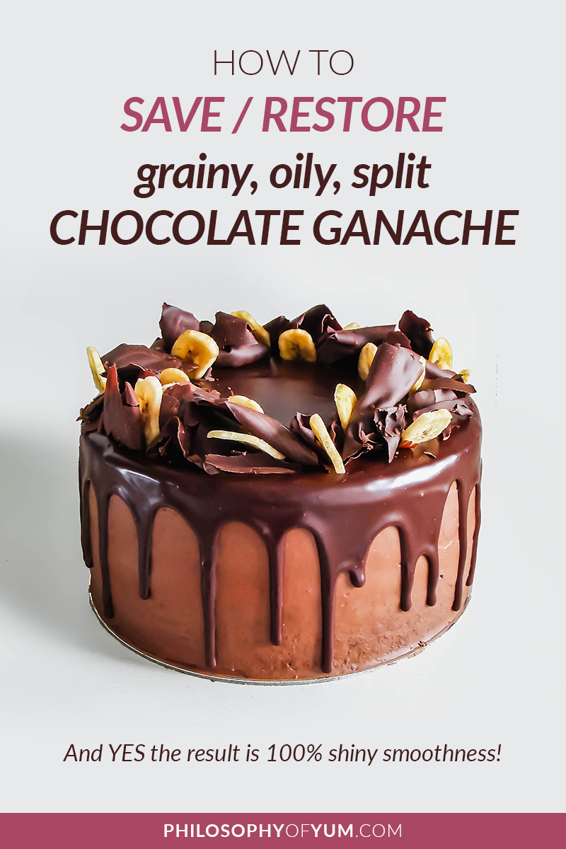 Don't throw out your split chocolate ganache! You can save it and make is 100% smooth & shiny! :D Click through for all the tips you need to fix and prevent split/oily/grainy chocolate ganache. #chocolateganache #splitganache #bakingtips #bakingtipsandtricks